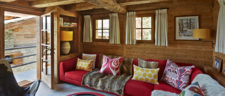 colorful swiss chalet sofa in a remote mountain resort