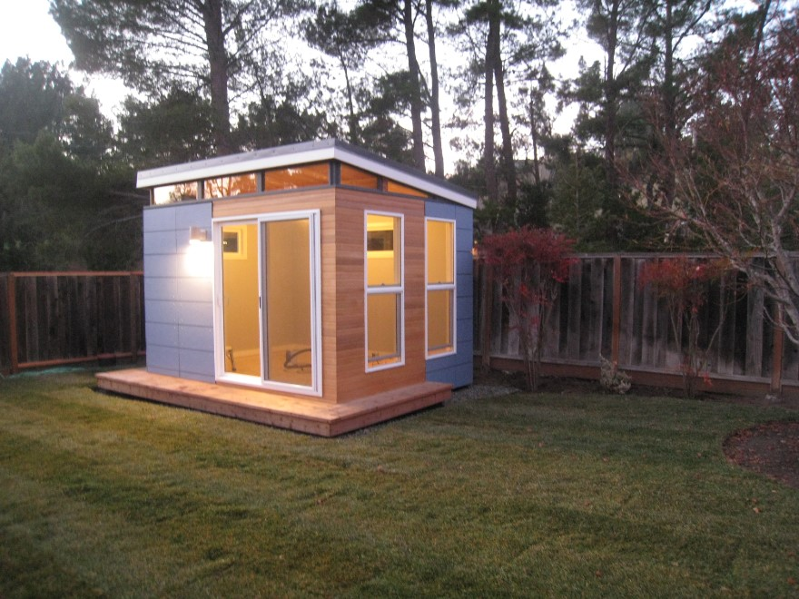 prefabricated building at the backyard