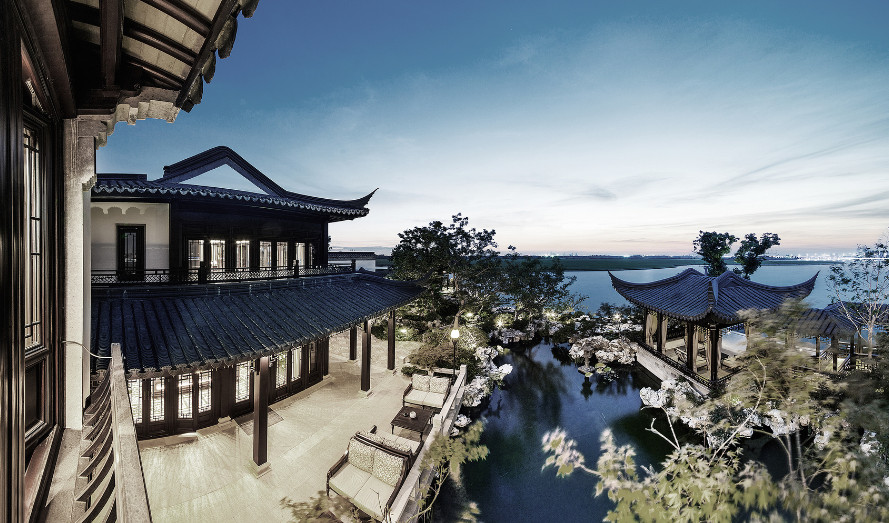 ancient expensive home of China overlooking Dushu lake