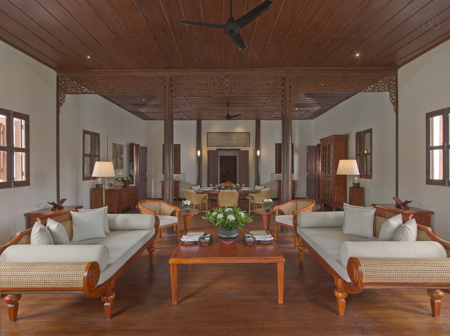 first floor living rooms in an ancient Laos villa