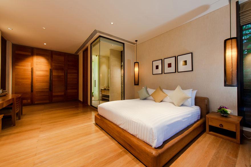 hardwood bedframe of an expensive villa in thailand