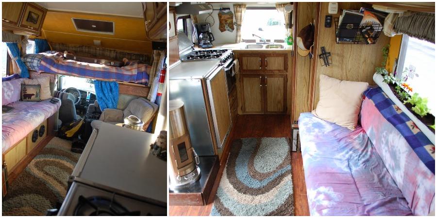 interior photo of a functional winter campervan in alaska region