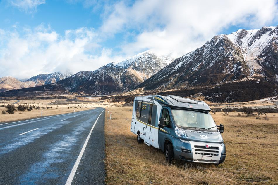 caravan in winter in South Island of New Zealand