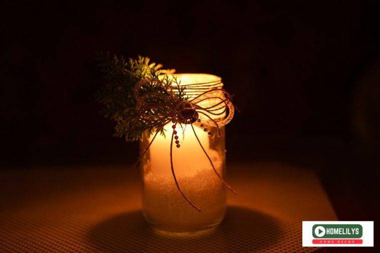old jam jar candle holder diy in the dark