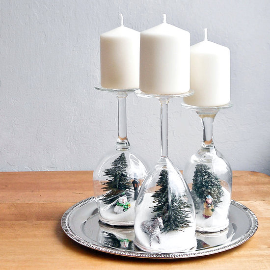 wine glass for candle holder