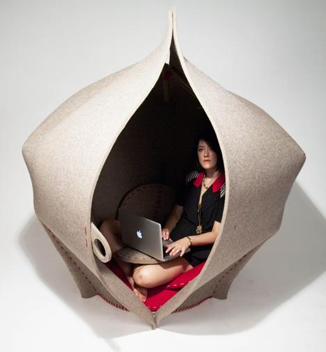 Hush felt pod as a working space