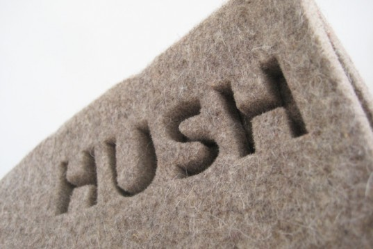 Hush felt pod logo on the recycled material