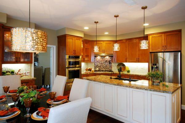 almost orange pendant light in a modern kitchen