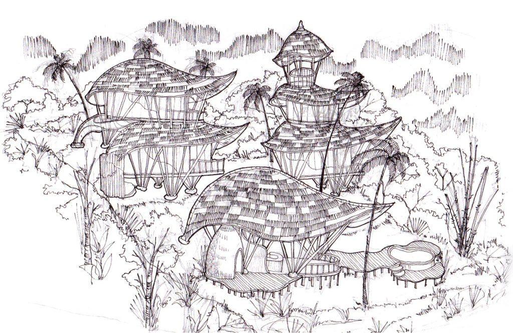 awesome achitect of Bali origine illustration