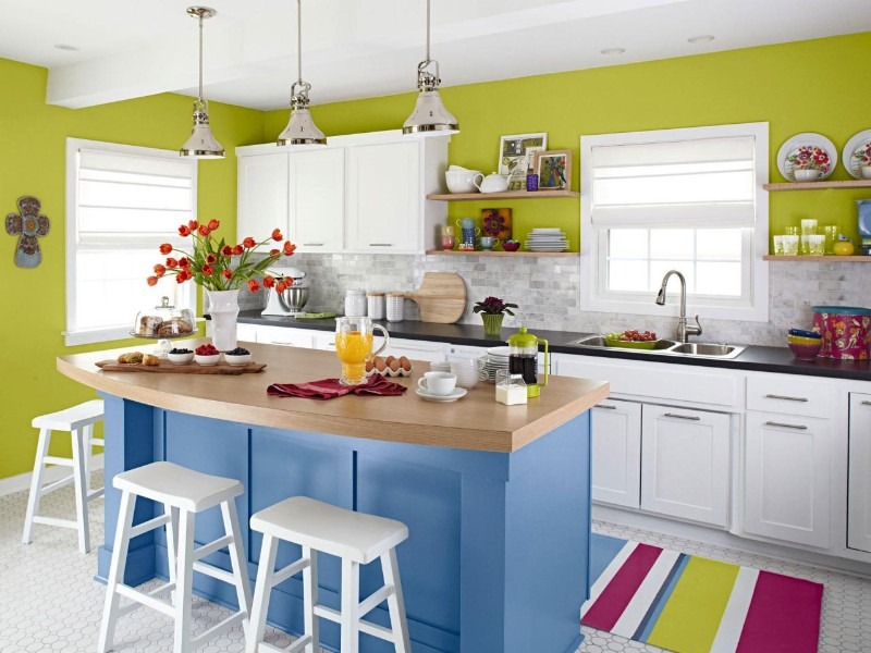 bright color kitchen wall