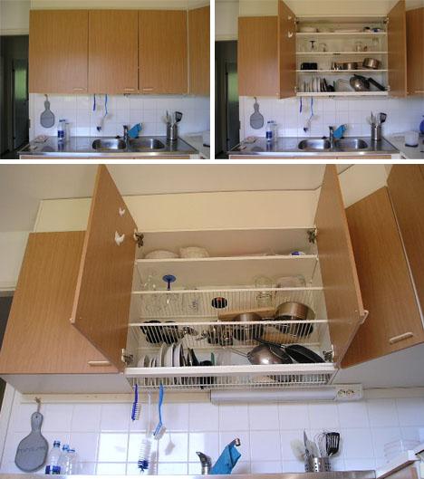 hidden dish draining closet