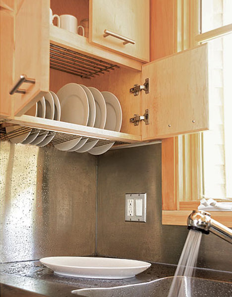 hidden dish drying closet ingenious design by Maiju Gebhard