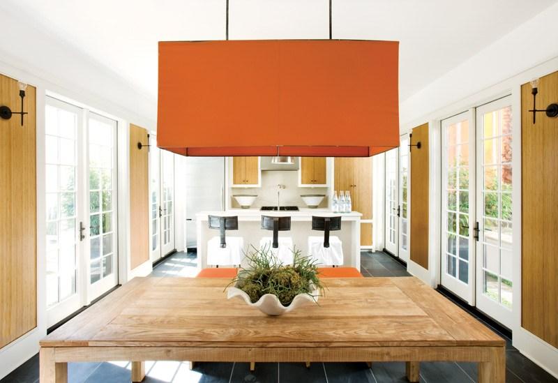 large open kitchen orange pendant light