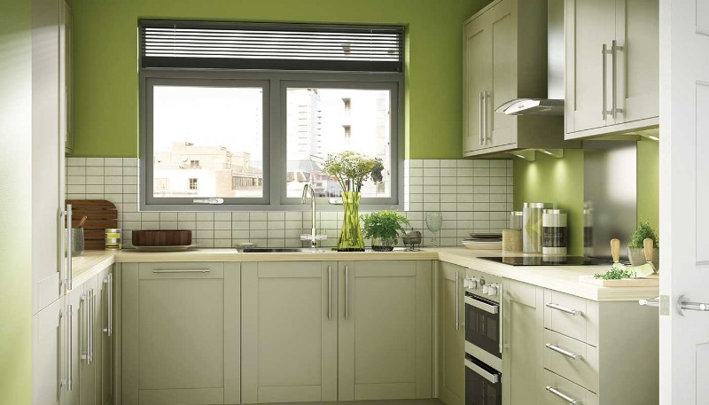 lime color kitchen wall design