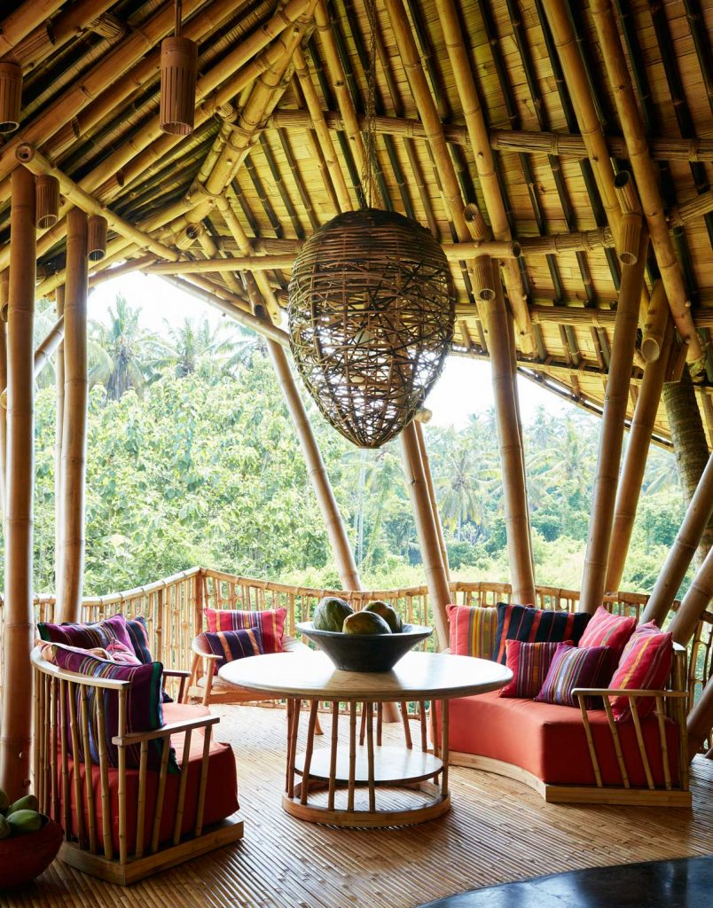 tranquility living room in this Bamboo structure in Bali