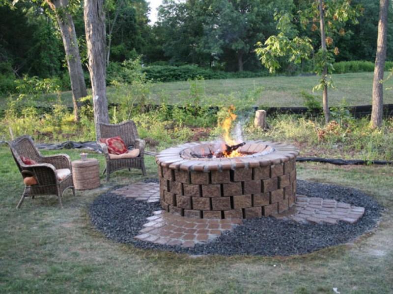 cheap backyard patio ideas - fire pit area