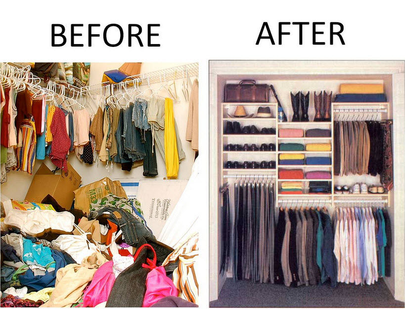 before and after declutting using storage system