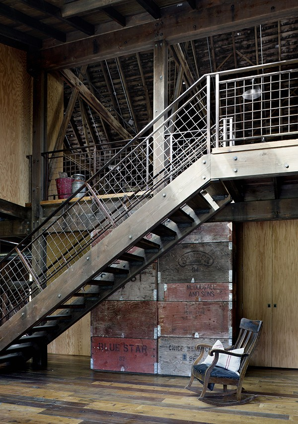 canyon barn staircase with understair storage box