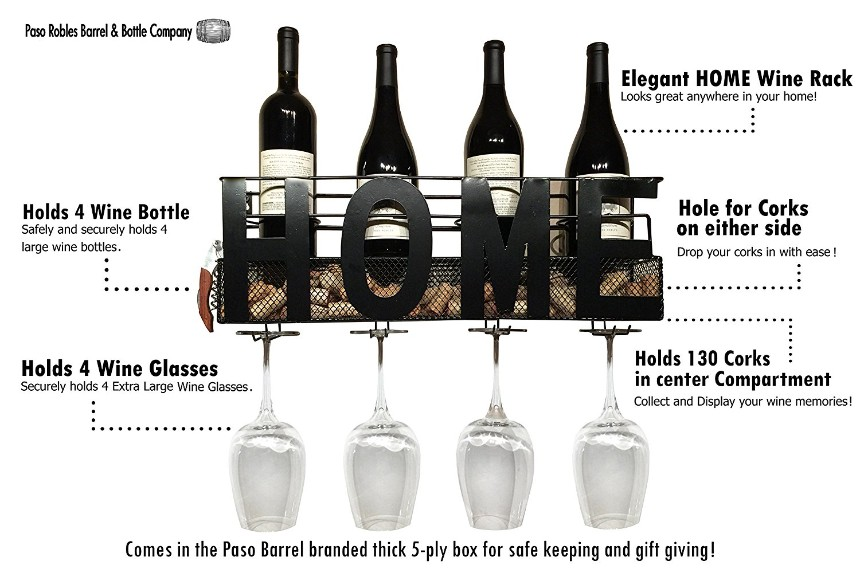 Wine Rack Wall Mounted Hanging Wine Cork Holder Holds 4 Bottles and 4 Wine Glasses