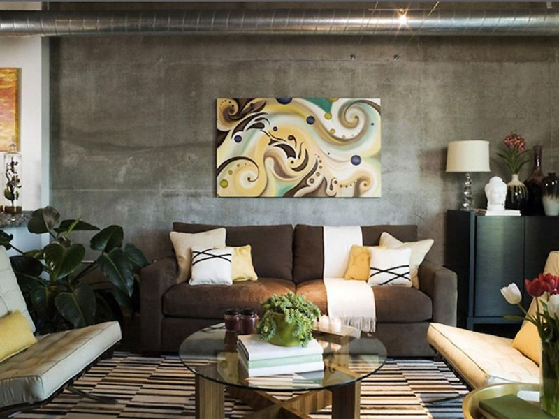 abstract apartment decorating ideas with industrial look