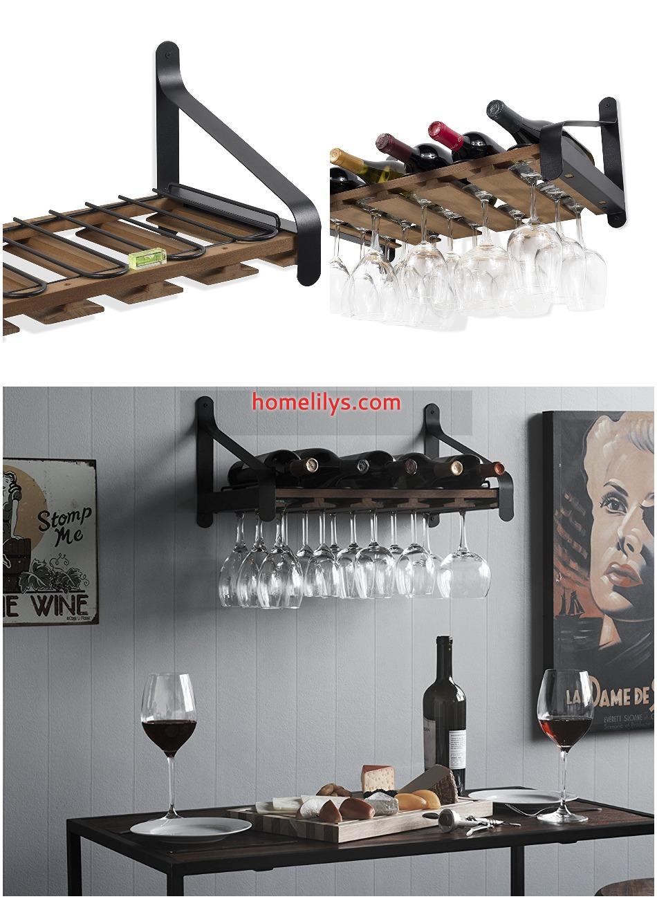 rustic wooden wine rack with Stemware Racks Organizer Walnut Stained