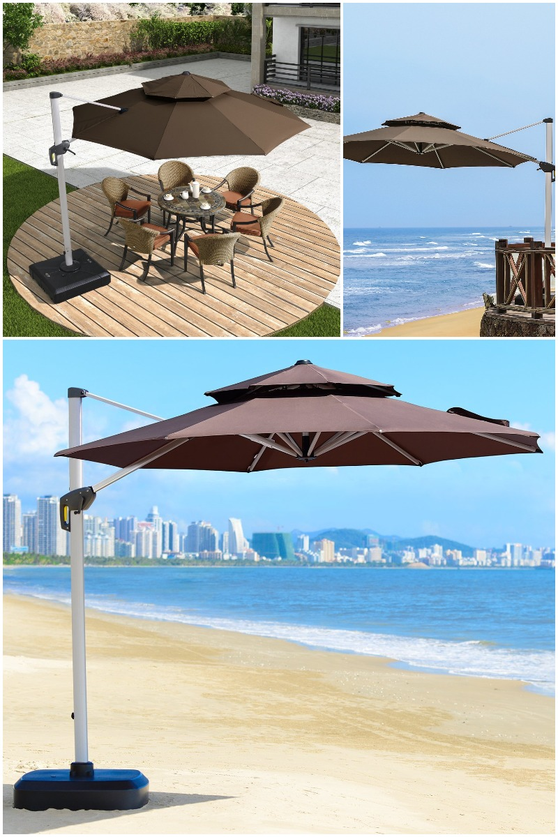 purple leaf double top cantilever umbrella