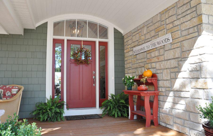 red front door wooden style