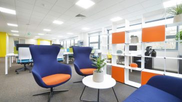beautiful blue office redesign