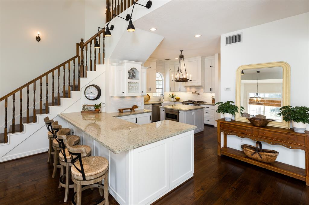 elegant kitchen inside Texas Colonial style house