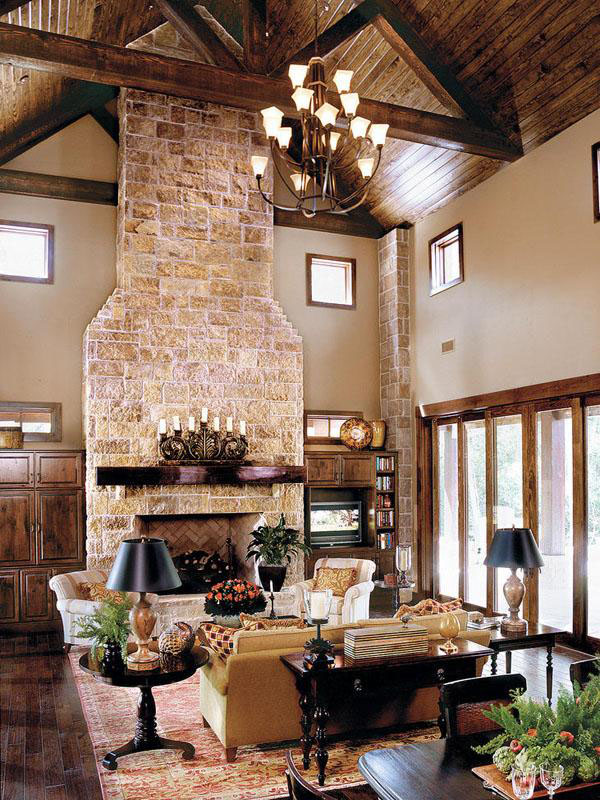 living space in a rustic texas house