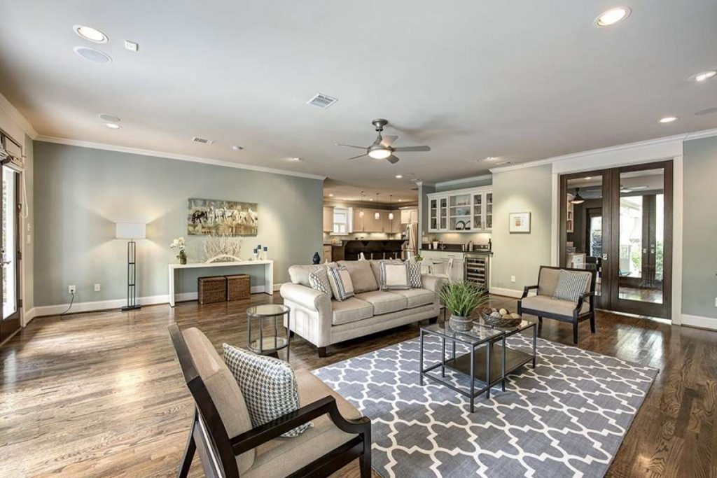 spacious living room in Craftsman Texas home