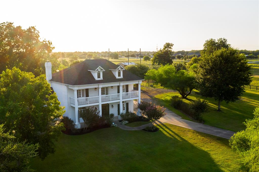 view from top colonial style house in texas