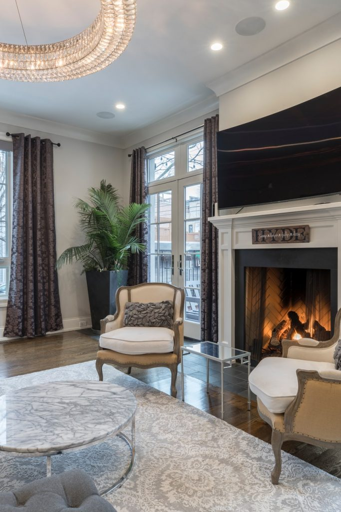 large fireplace in a rambler house