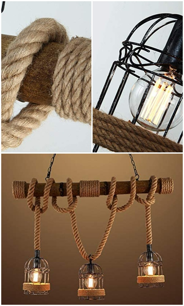 Industrial Birdcage Island Light with Rope Cage Frame