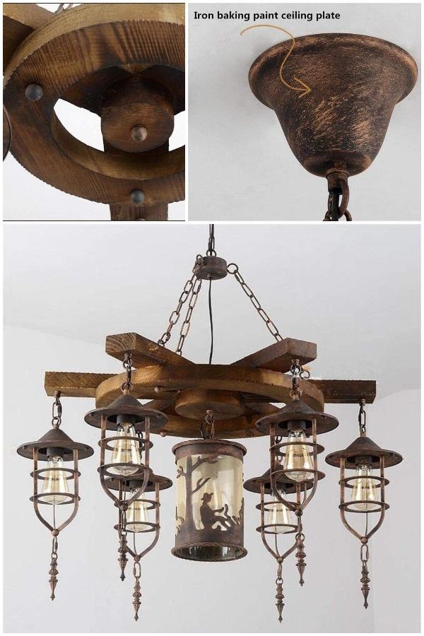 K-LT Pendant Lamp Retro Solid Wood Chandelier