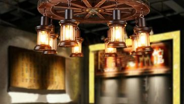 Wooden wheel chandelier with 8 head