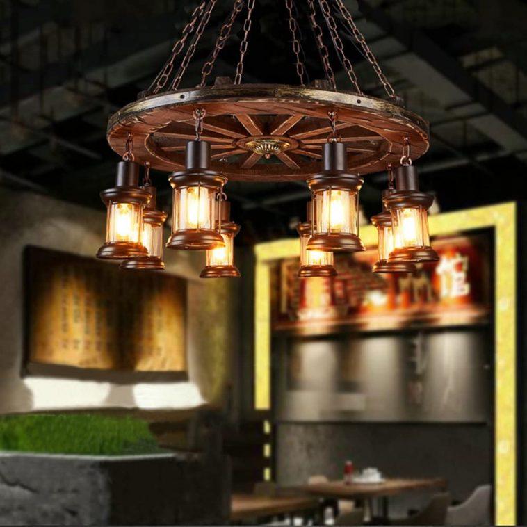 Wooden wheel chandelier with 8 head