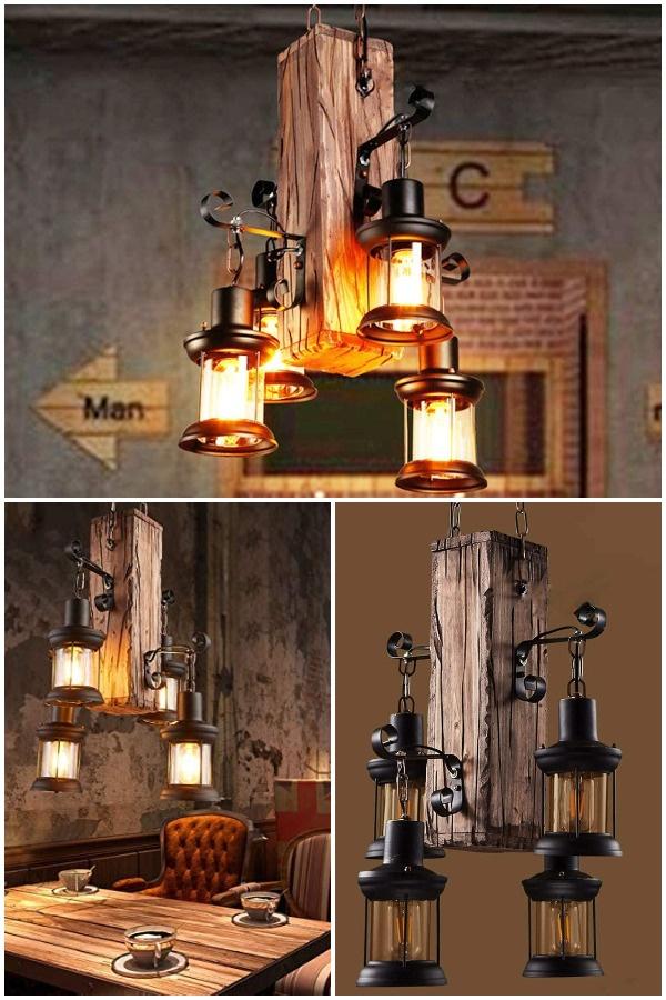 industrial wooden beam chandelier light
