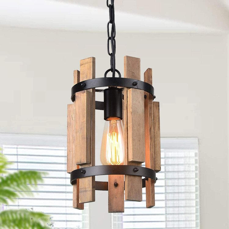 real cylindrical pendant light in wooden and metal frame